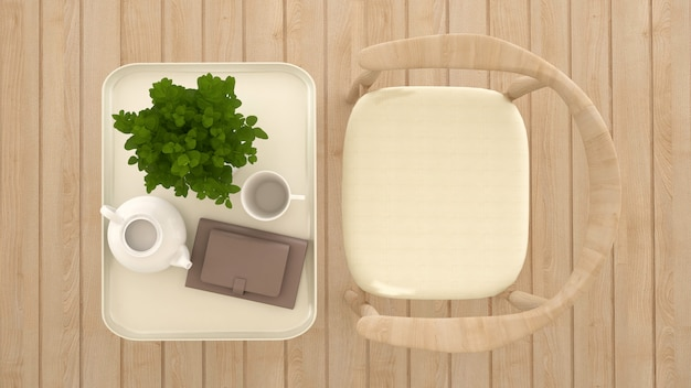 Dining area in coffee shop or restaurant top view - 3d rendering Premium Photo