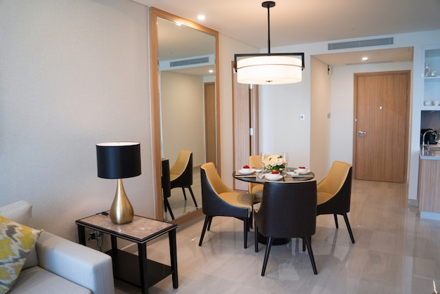 Dining area of comfortable studio flat or hotel room. Free Photo