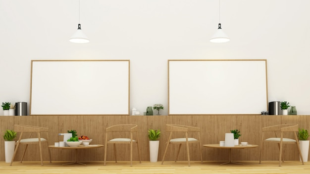 Dining area and frame in restaurant or coffee shop - 3d rendering Premium Photo