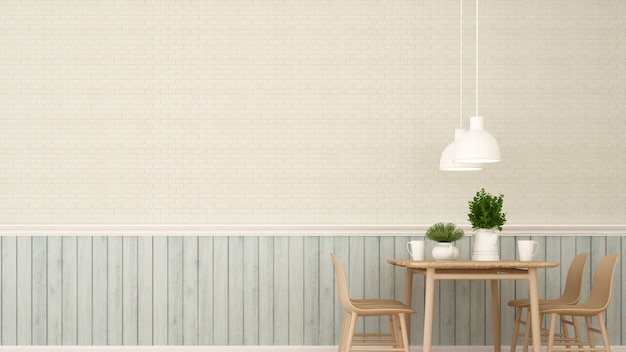 Dining area in restaurant or coffee shop - 3d rendering Premium Photo