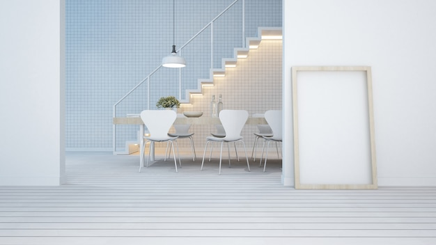 Dining area white tone in apartment or condominium Premium Photo
