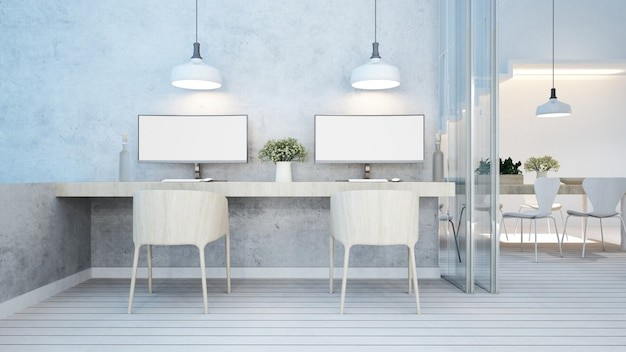 Dining area and workspace white tone in home or apartment Premium Photo