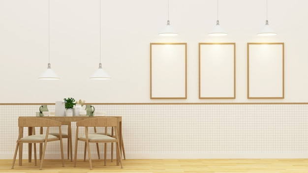 Dining room and frame for artwork - 3d rendering Premium Photo