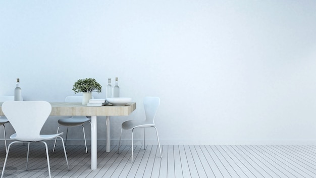 Dining room in home or apartment - 3d rendering Premium Photo