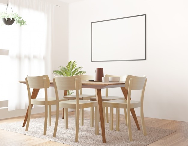 Dining room with blank photo frame, 3d rendering Premium Photo