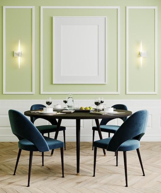 파란색 의자와 램프, 밝은 녹색 빈 벽을 모의 식당, 3d 렌더링 프리미엄 사진