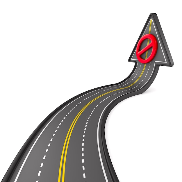 Direction of road on white space. isolated 3d illustration Premium Photo