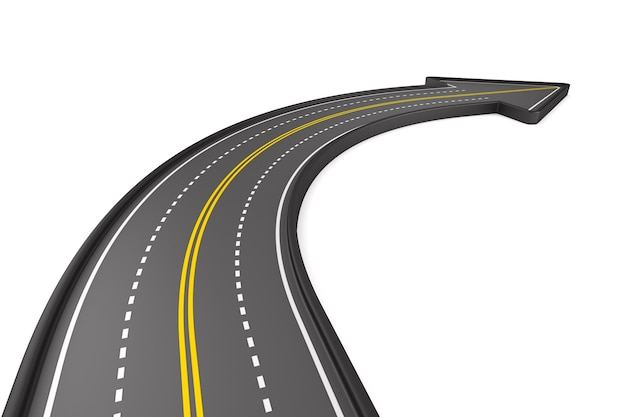 Direction of road on white surface. isolated 3d illustration Premium Photo
