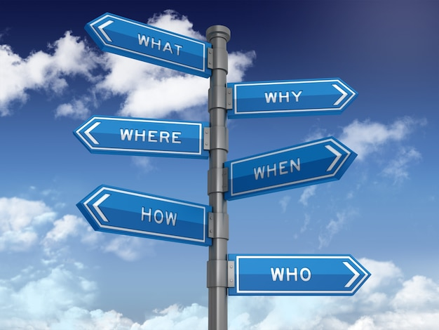 Directional sign with question words Premium Photo