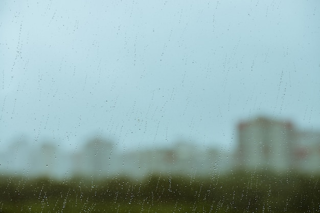 Dirty glass with drops of rain Premium Photo