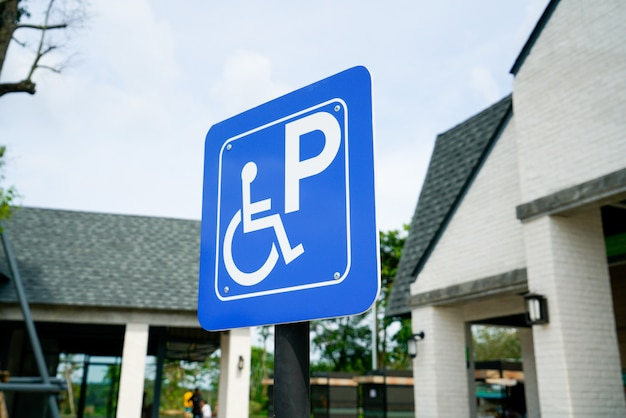 Disabled sign car park at gas station Premium Photo