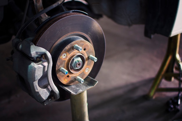Brake Repair Shops >> Disc Brake System Repair On Jack Stand In Automotive Repair Shops
