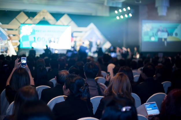 Disfocus of the convention hall background of busines Premium Photo