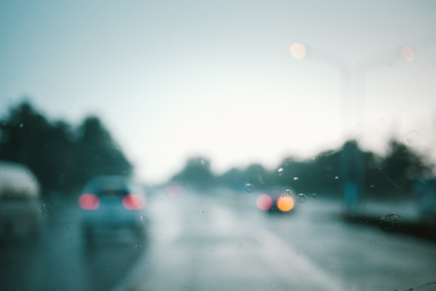 Disfocus of road in sunset abstract background. retro color style. Premium Photo
