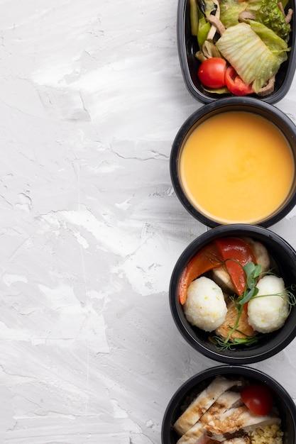 친환경 보울의 요리 메뉴 프리미엄 사진