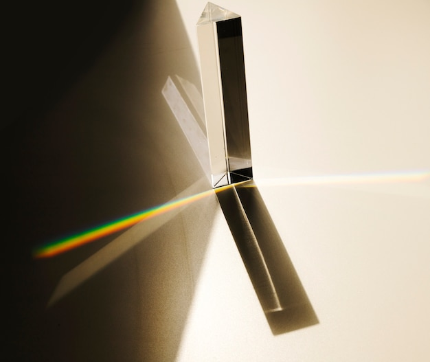Dispersion of visible light going through glass prism Free Photo
