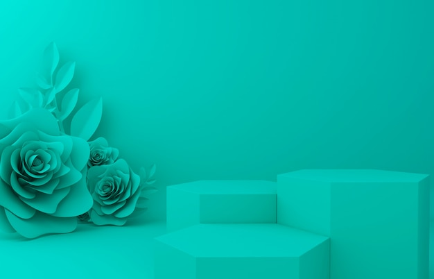 Display background for cosmetic product presentation. empty showcase,  3d flower paper illustration rendering. Premium Photo