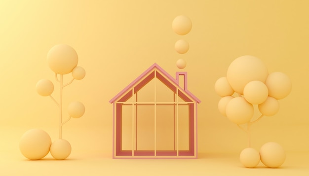 Display background houses and trees geometric shape. empty showcase,  3d illustration rendering. Premium Photo