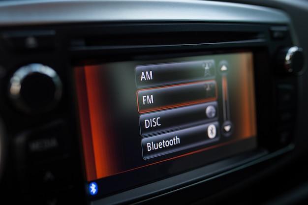 Display in the car close up. Premium Photo