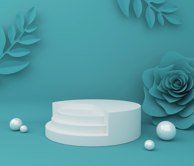 Display for cosmetic product presentation. empty showcase,  3d flower paper illustration rendering. Premium Photo