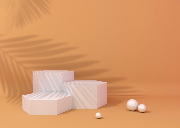 Display podium for product presentation, tropical tree shadow Premium Photo