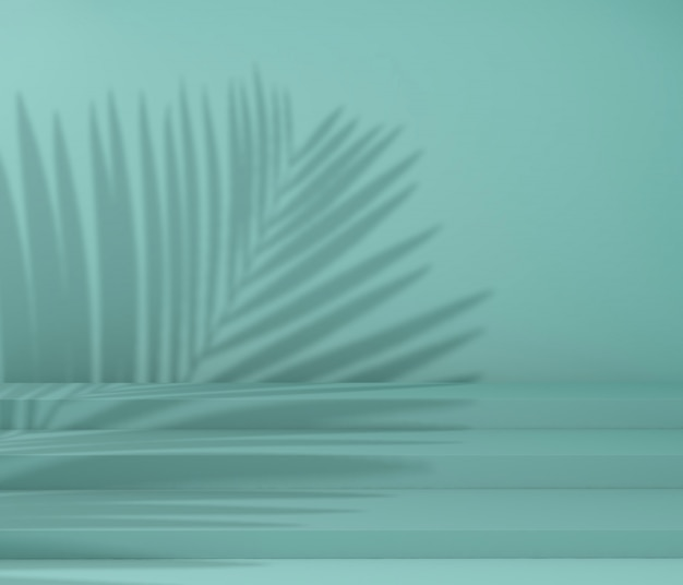 Display podium for product presentation, tropical tree shadow Premium Photo