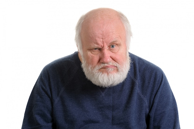 Dissatisfied displeased old man isolated portrait Premium Photo