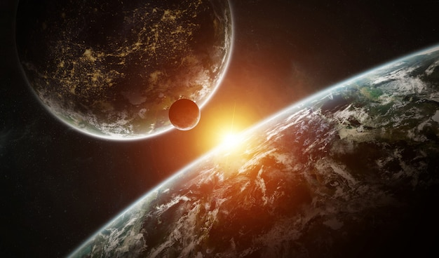 Distant planet system in space with exoplanets 3d rendering Premium Photo