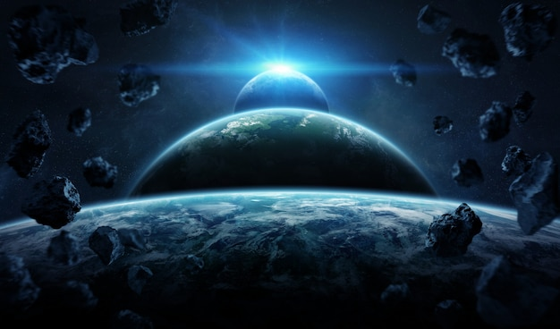 Distant planet system in space with exoplanets Premium Photo