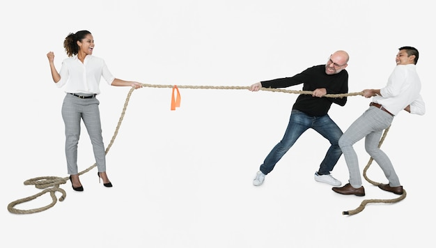Diverse business people tugging on a rope Premium Photo