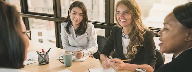 Diverse businesswoman leaders  in office meeting room Premium Photo