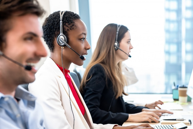 Diverse call center team working in office Premium Photo