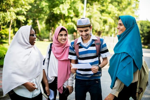 Diverse children studying outdoor Premium Photo