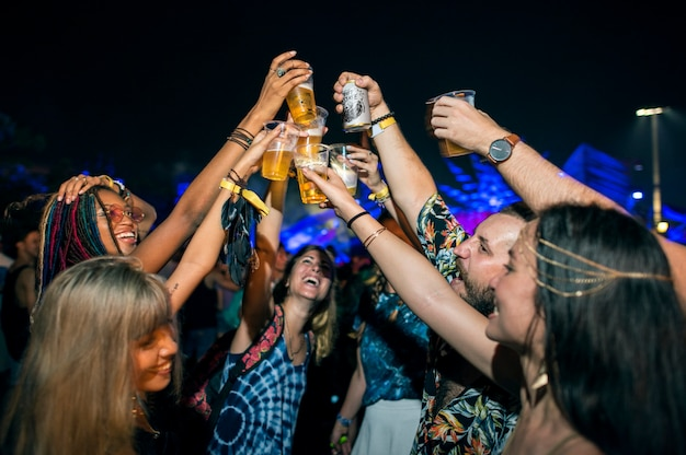 Diverse group of people enjoying a road trip and festival Premium Photo