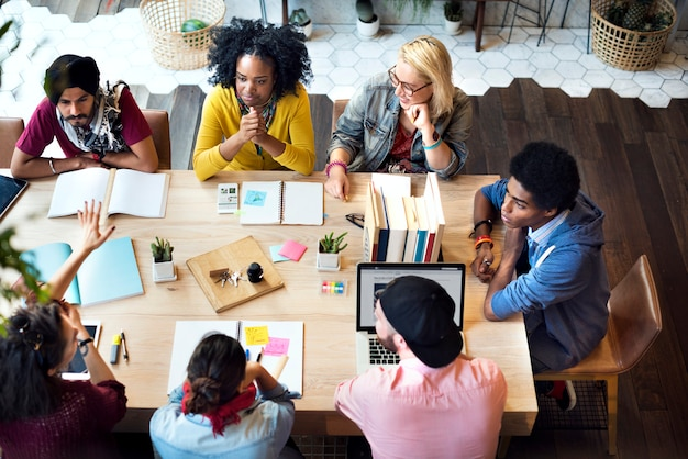 Diverse group people working together concept Premium Photo