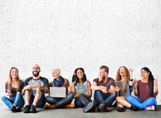 Diverse people friendship digital device connection concept Premium Photo