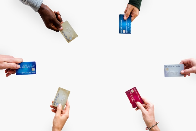 Diverse people hands hold money bill Premium Photo