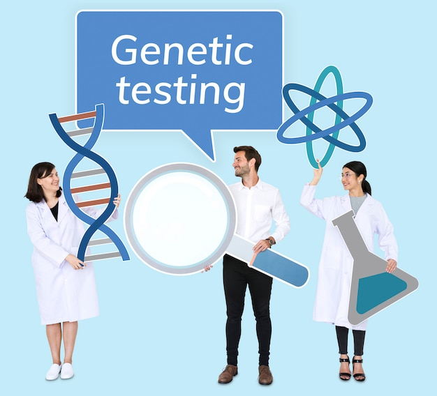 Diverse people holding genetic testing icons Free Photo