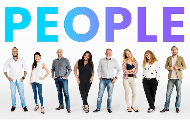 Diverse people mockup collection Free Photo