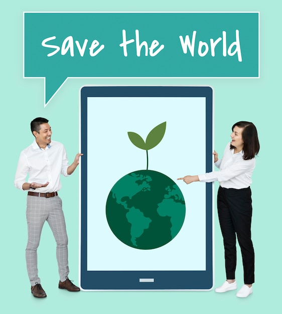 Diverse people wanting to save the world Free Photo