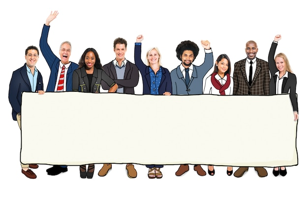 Diverse people with a banner Premium Photo