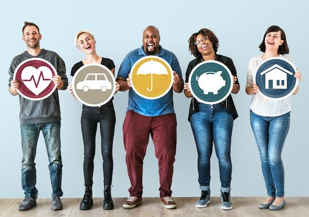 Diverse people with insurance protection plan Premium Photo
