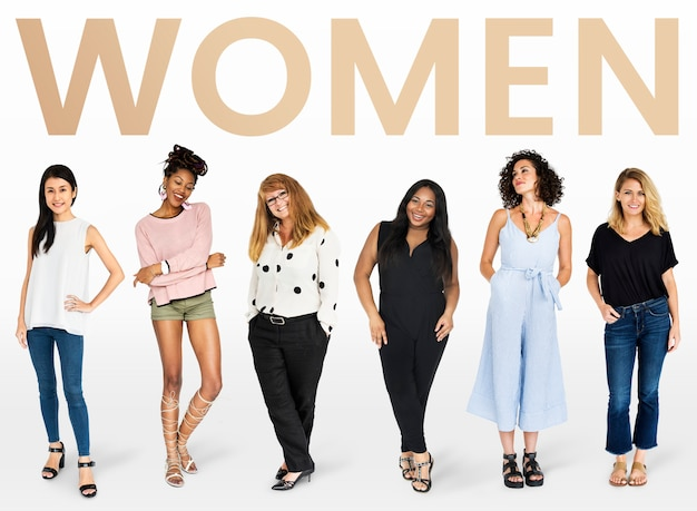 Diverse women mockup collection Free Photo