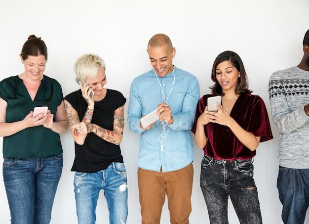 Diversity group use mobile phone communication Premium Photo