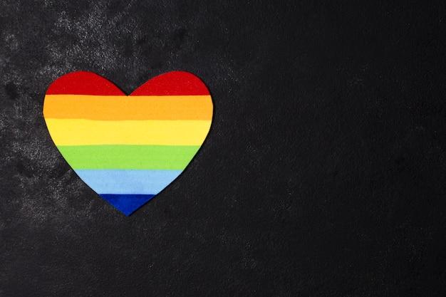 Diversity heart in gay pride colors Premium Photo