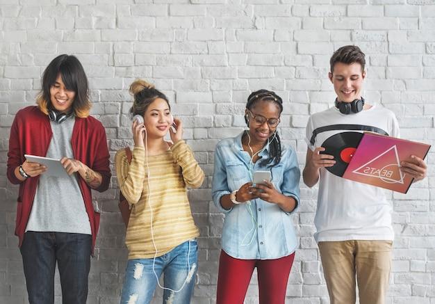 Diversity students friends entertainment music concept Premium Photo