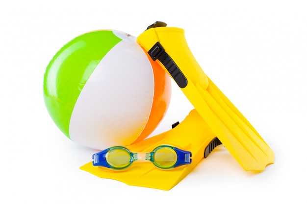 Diving equipment goggles,snorkel and flippers on white background. Premium Photo