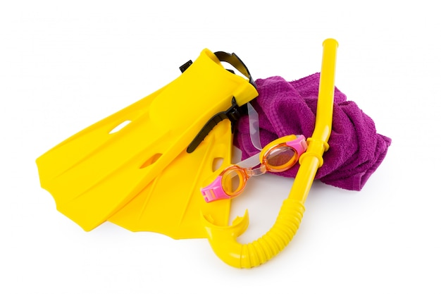 Diving equipment goggles,snorkel and flippers on white . Premium Photo