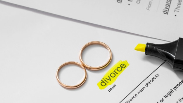 Divorce noun highlighted with marker Free Photo