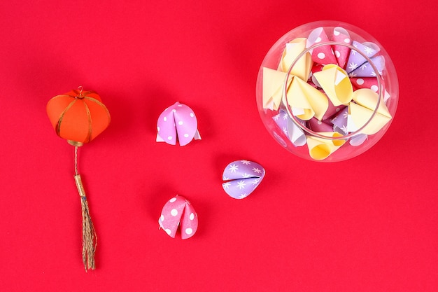 1a7bf1c47 Diy cookie with predictions red background. gift ideas, decor for chinese  new year.